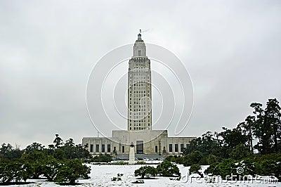 Louisiana Capitol in Snow Editorial Image