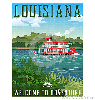 Free Louisiana Travel Poster Or Sticker. Stock Image - 89617261
