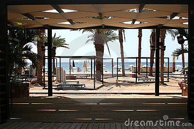 Lounge area on the beach
