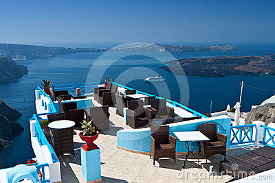 Lounge bar at Santorini island, Greece