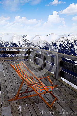 Lounge chair at ski resort(Alps)