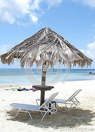 Lounge chairs on beach