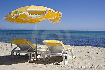 Lounge chairs on the beach of saint-tropez
