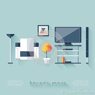 Free Lounge Or Sitting Room Cover With TV, Console, Sofa, Loudspeaker And Lamp. Flat Style With Long Shadows. Modern Trendy Design. Stock Images - 47975814