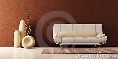 Lounge room with couch and vases