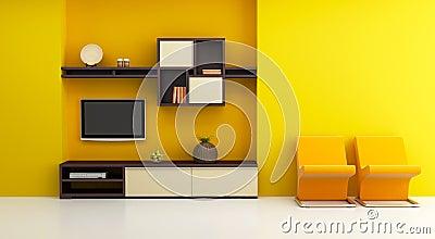 Lounge room interior with bookshelf and TV
