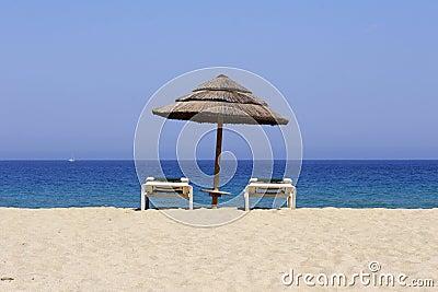 Lounger di Sun sulla spiaggia sabbiosa, co