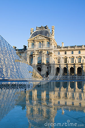 The Louvre Art Museum  in Paris Editorial Stock Image