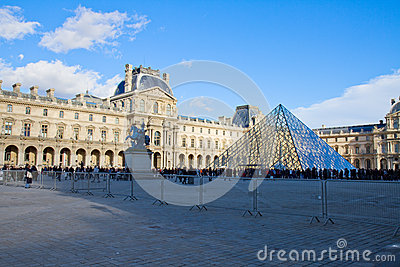The Louvre Art Museum  in Paris Editorial Stock Photo
