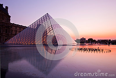 Louvre at dusk Editorial Stock Image