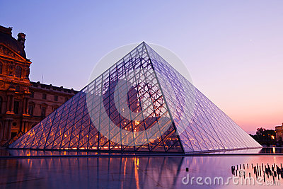 Louvre at dusk Editorial Image