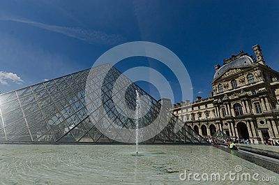 Louvre Museum, Glass Pyramid and fountain Editorial Stock Image