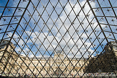 The Louvre Museum and the Pyramid Editorial Stock Photo