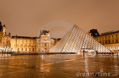The Louvre Museum at the rainy night Editorial Image