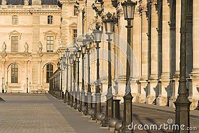 Louvre museum row of lamps - France - Paris