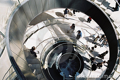 Paris, Louvre Museum spiral stairs Editorial Stock Photo