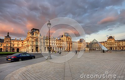 Louvre museum at sunset Editorial Image