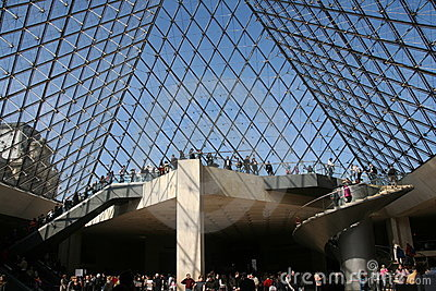 Louvre piramid inside Editorial Stock Photo