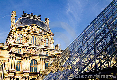 Louvre pyramid Editorial Stock Photo