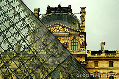 The Louvre and the Pyramid - Close Up Editorial Photo