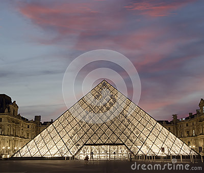 Louvre, Pyramid---France Editorial Stock Photo
