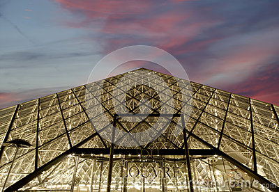 Louvre, Pyramid, (by night), France Editorial Photo