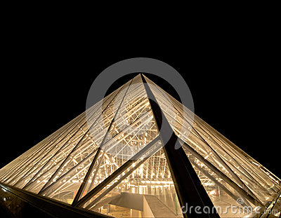 Louvre, Pyramid (by night), France Editorial Photo