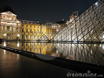 Louvre Pyramid in Paris Editorial Photography
