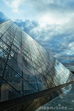 Louvre Pyramid perspective Editorial Photo