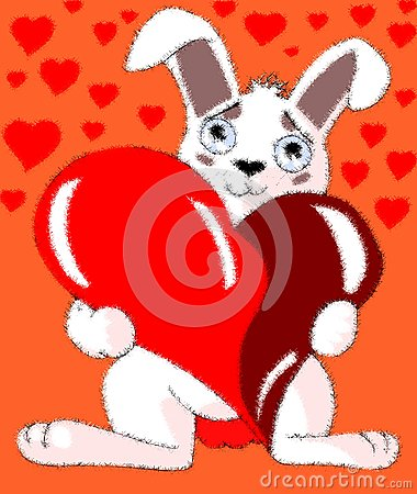Cartoon bunny with heart