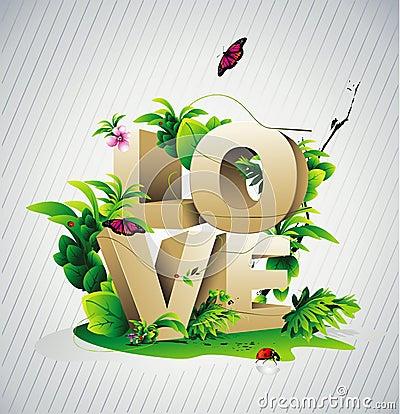 Love 3d text