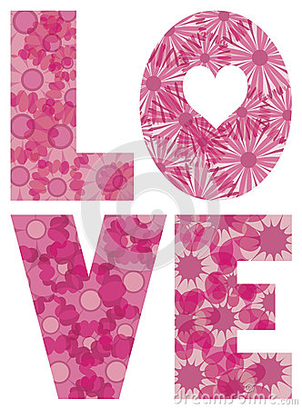 LOVE Alphabet with Flowers Illustration