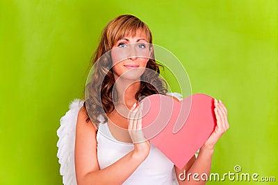Love angel amor with heart