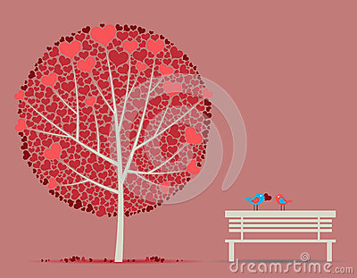 Love autumn tree with couple in-love birds