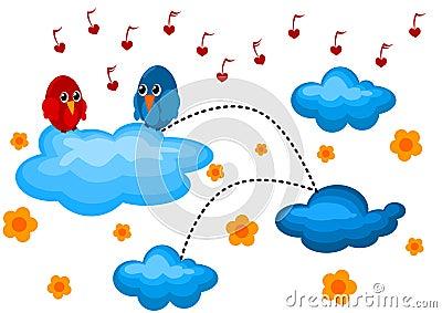 Love Bird in a Cloudy Garden