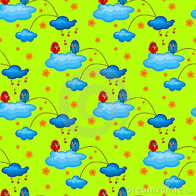 Love Bird in a Cloudy Garden Seamless Pattern