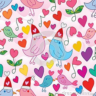 Free Love Bird Singing Love Song Seamless Pattern Royalty Free Stock Image - 106504156