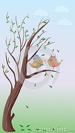 Love birds couple on a tree