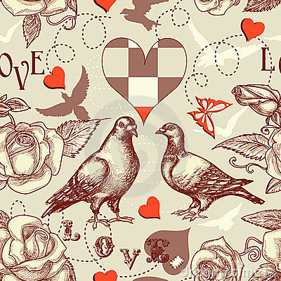 Free Love Birds Seamless Pattern Royalty Free Stock Images - 22752189