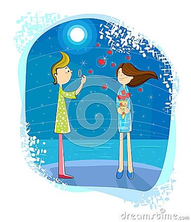 Love boy blowing bubble heart on girl