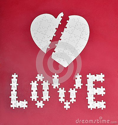 Love and broken heart puzzle
