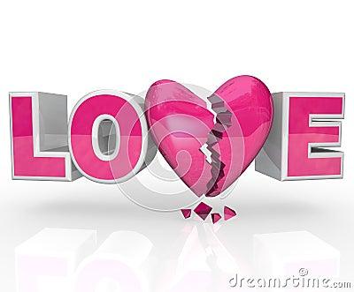 Love Broken Heart Word Break-Up Ends Relationship