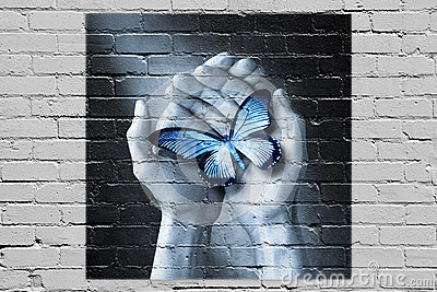 Love Butterfly Hand Graffiti Hands Holding Brick Wall Thank You Stock Photos Royalty