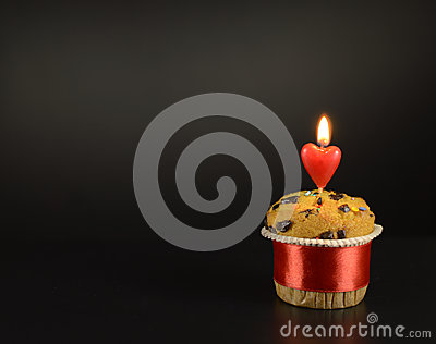 Love cake with candle