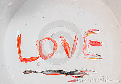 Love, Caption word love Red, black in the colour surface Stock Photo