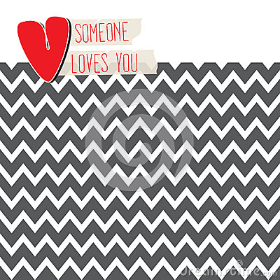 Love card with heart on modern chevron background