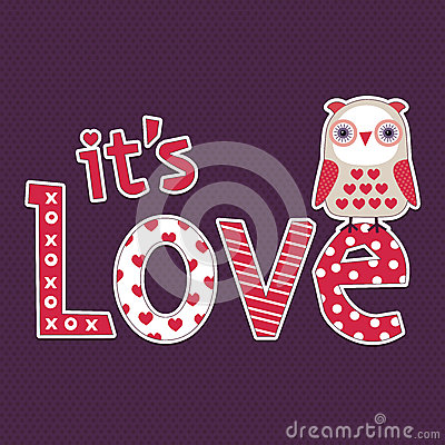 Free Love Card Or Poster Template With Cute Owl Royalty Free Stock Image - 36422656