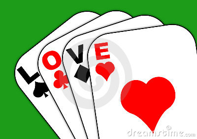 Love on the cards green background