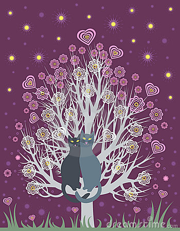 In love cats on a flowering tree