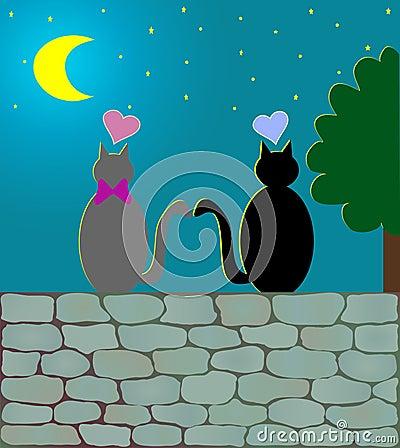 Love Cats & moonlight (vector)